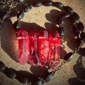 Mourning Prairie Jewelry - Red quartz crystals on a vintage rosary chain